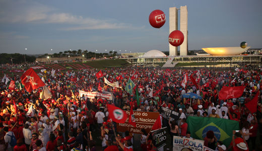 """Brazil's workers say, """"Stay Dilma, there will be no coup!"""