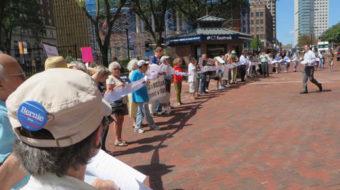 Demonstrators to Connecticut's Sen. Blumenthal: Peace yes! War, no!