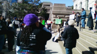 Indy Occupy movement joins with labor unions in protest at Super Bowl Village