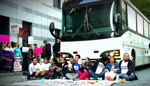 Undocumented activists block another deportation bus