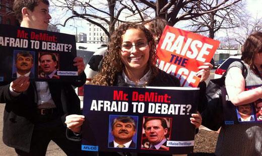 AFL-CIO leads demonstration for minimum wage hike outside Heritage Foundation