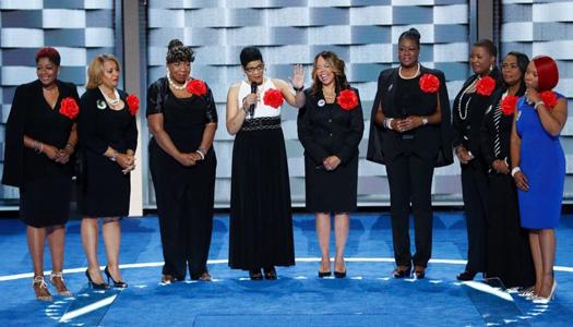 "Democratic National Convention delegates chant ""Black lives matter"""