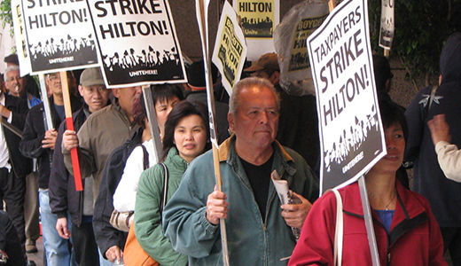 Hilton Hotel workers walk out in three cities