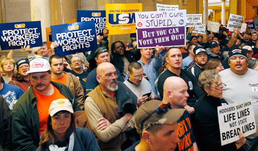 """Indiana GOP ramming """"right to work"""" but battle continues"""