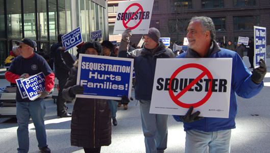 "Workers coast-to-coast demand rollback of ""sequester"" cuts"