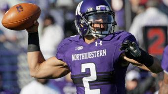 Northwestern University footballers file union election cards