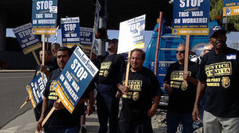 Video: L.A. port truck drivers go on 24-hour strike