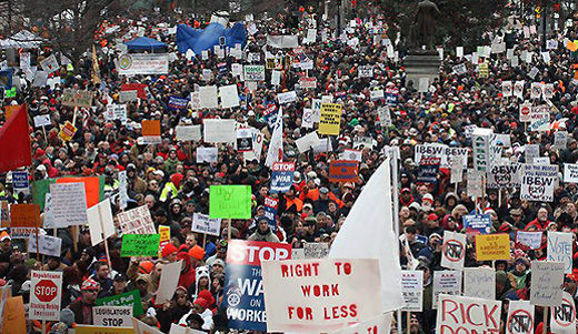 Michigan unions battle private sector right to work law