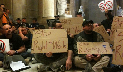 Right now: 1,000 workers sit in and block Indiana state Senate
