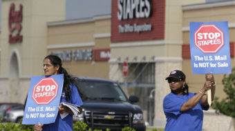 Postal workers in 27 states rally against Staples privatization plan