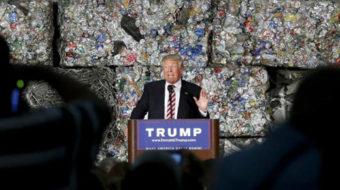 Billionaire Trump claims steelworker status