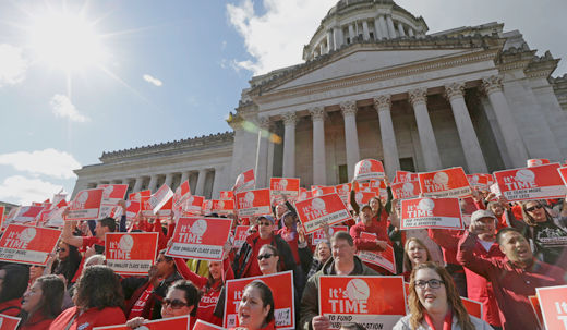 Rolling one-day strike closes Washington state schools