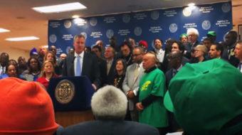 Mayor De Blasio helps celebrate NY Fight For 15 victory
