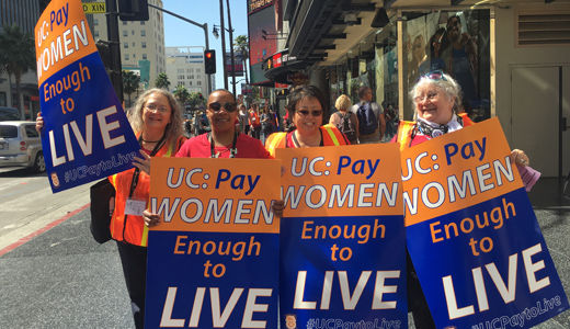 Teamster women take over Hollywood to demand equal pay from University of California