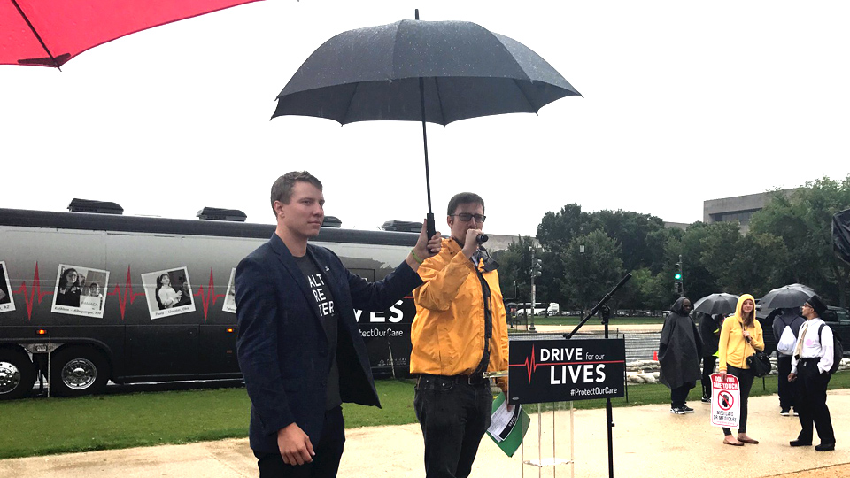 Health care bus arrives in DC; organizers warn fight is not over
