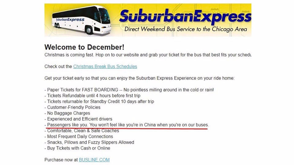 """Racist bus company: """"You won't feel like you're in China on our buses"""""""