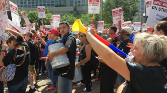 Thousands of striking hotel workers take over Chicago's Magnificent Mile