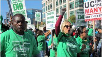 Trabajadores de la Universidad de California se manifiestan por un salario justo y más