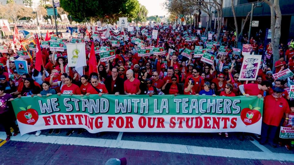 Overcrowded classrooms, privatization schemes force LA teachers to strike