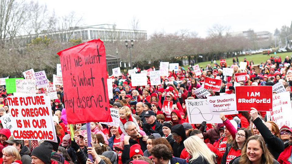 Oregon teachers, parents, students walk out to demand more school dollars