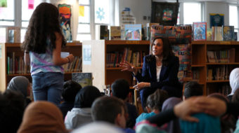 Accepting union challenge, Kamala Harris spends day with teachers