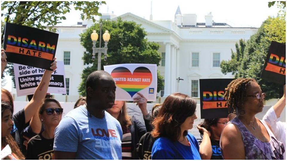 Demonstrators take battle against white supremacy to Trump's front door
