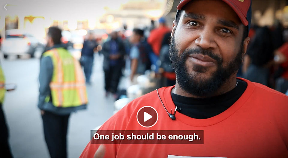 Exploited catering workers protest at busy airports