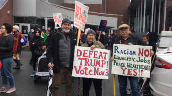 "At Seattle MLK event the people say ""Dump Trump"""