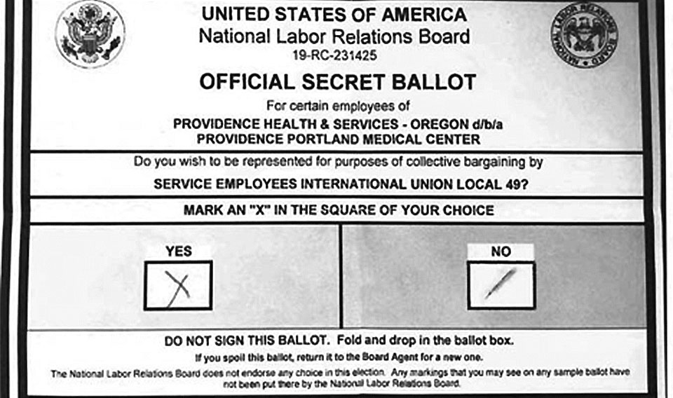 Oregon hospital workers lose their union over one smudged ballot