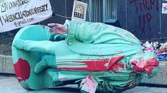 Statue of Egerton Ryerson, architect of Canada's racist residential schools, toppled
